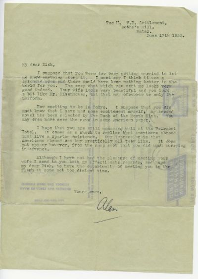 Alan Paton Autograph Typed Letter Signed